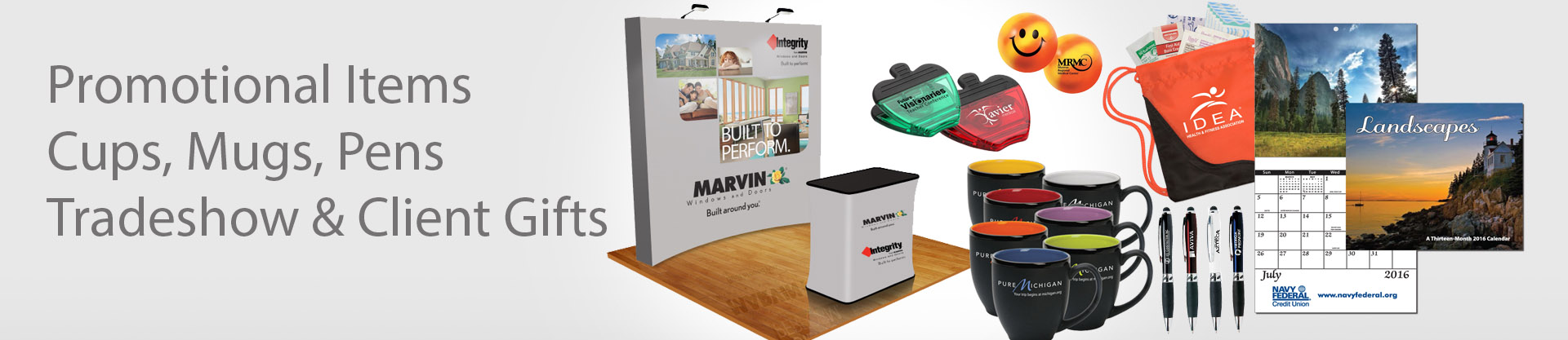 Trade show gift banner images-cups-pens-calendar-backpack