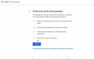 "Screen Shot of page ""Finish and verify this business"""