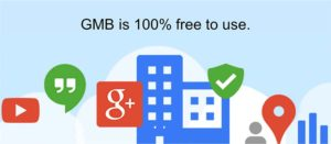 "Image Stating ""GMB is Free"" paired with Google Icons"