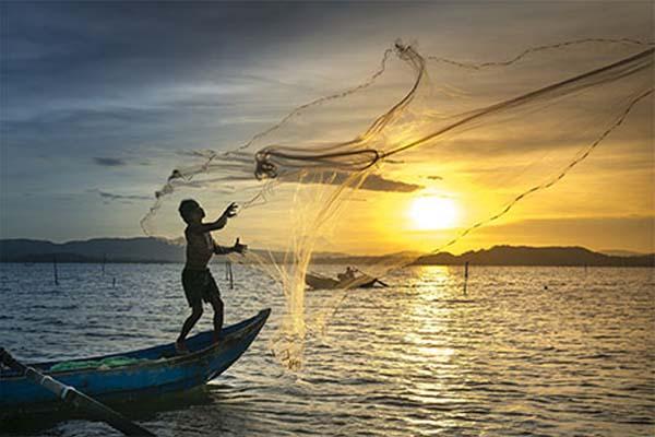 Man casting a net