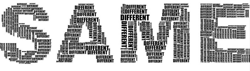 The word same made up of the word different