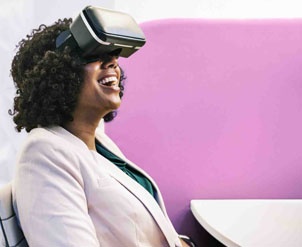 Woman using VR