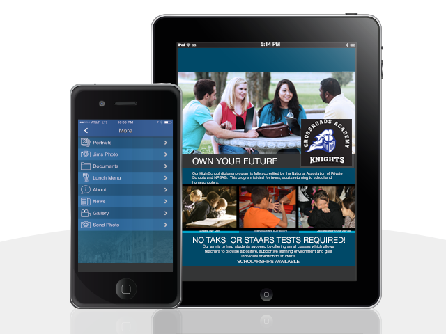 Dallas County, Texas Private School Mobile App Design